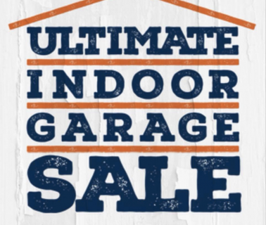 Blue text stating ultimate indoor garage sale