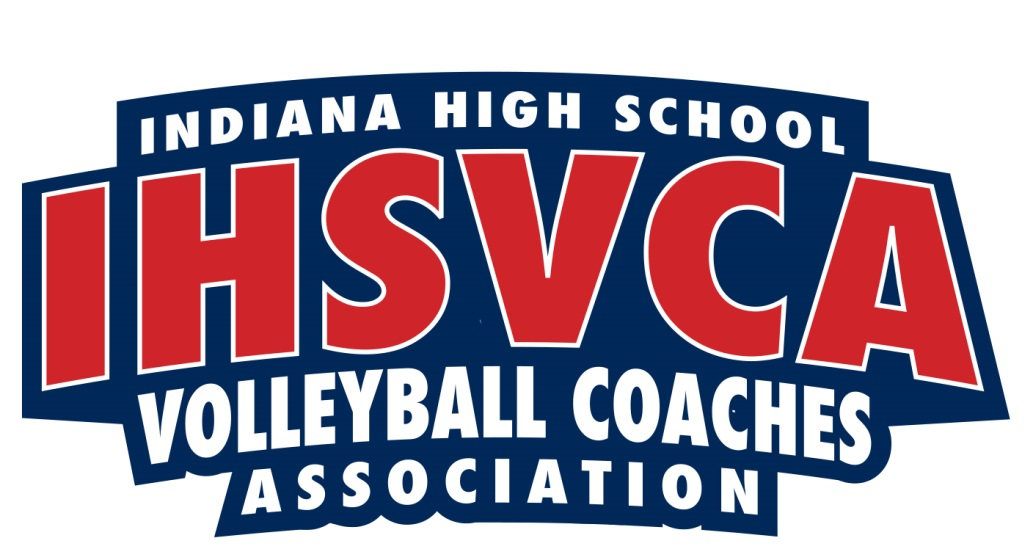 Red and white text.Blue background. Logo for Indiana High School Volleyball Coaches Association