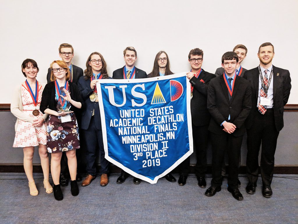 Group of students standing/ Smiling at camera. Academic Decathlon. MSD of Martinsville, Martinsville Schools, Martinsville, Indiana 2019