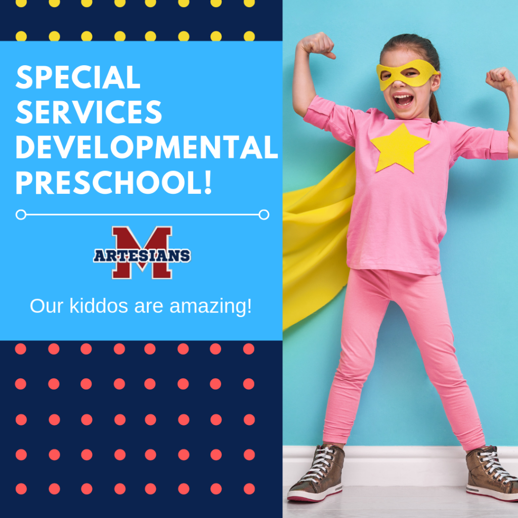 Child dressed pink shirt, pants and yellow cape. White text. Ad for special needs developmental preschool. Msd of martinsville, martinsville schools, martinsville, indiana,