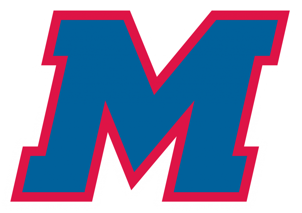MHS Athletic logo Blue and red letter M