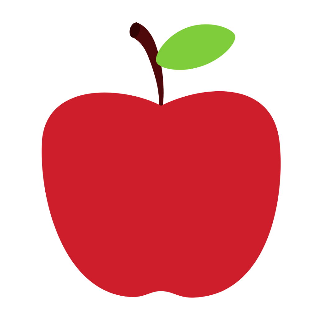 red apple white background