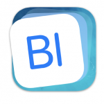 Blending Board App icon, blue letters, white and blue background