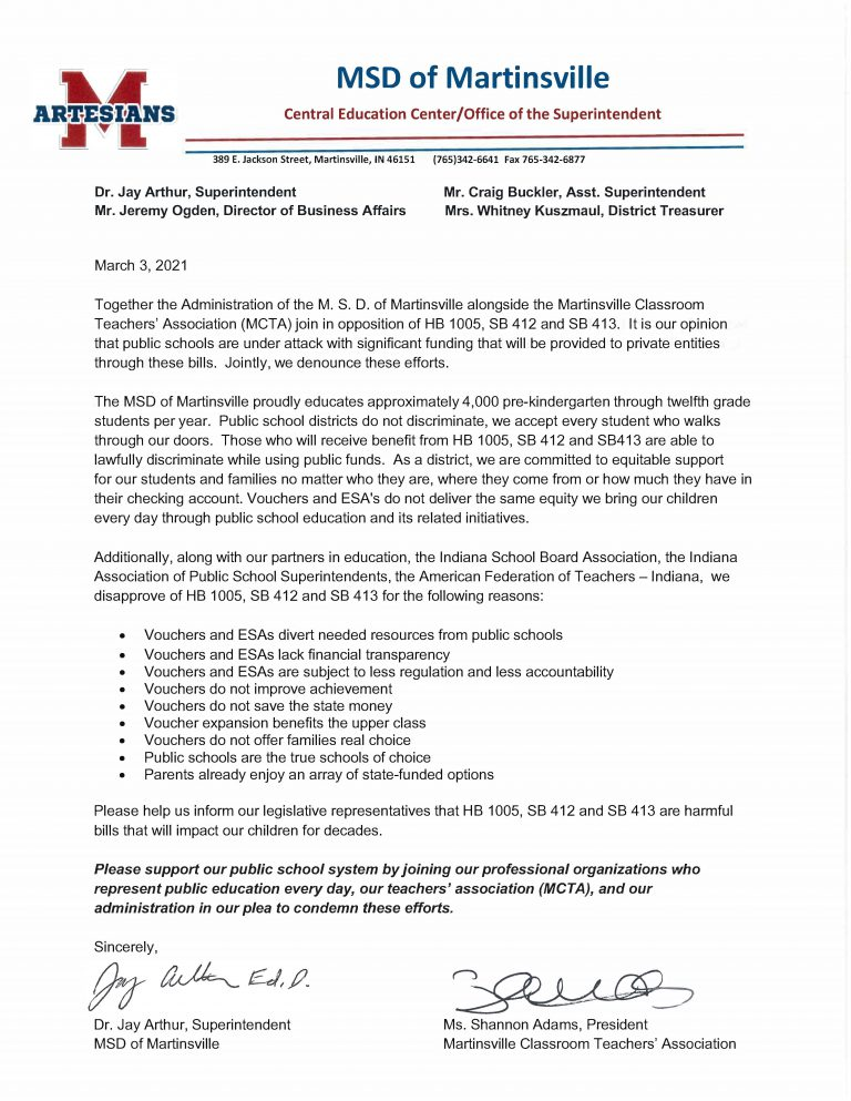 MSD of Martinsville MCTA Joint Statement, text on white background